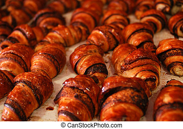 Food and Cuisine - Pastry - Small Chocolate cakes rolls in a...