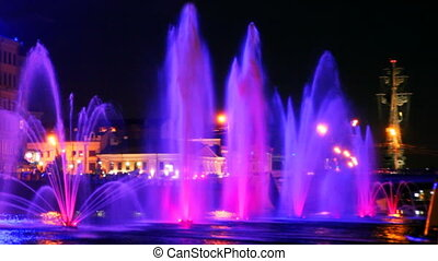 beautiful fountains illuminated with violet on Moscow River...