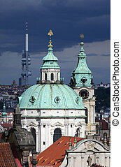 Prague - St. Nicholas Church and Zizkov Tower