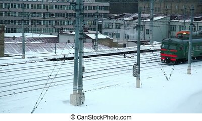 Two train moves both side at industrial zone near...