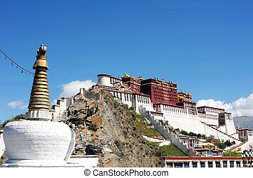 Landmark of the famous Potala Palace in Lhasa Tibet