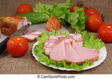 Deli meats with vegetables - Carbonate with vegetables on...