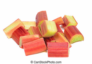 Chopped rhubarb - Fresh copped pieces of rhubarb on a white...