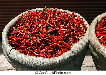 Food - Vegetables - Hot red chilies on display in a food...