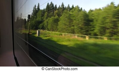 Travel by fast train, view from window, time lapse