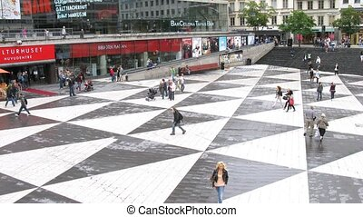 Traffic at Sergels torg square - STOCKHOLM, SWEDEN - JULY...