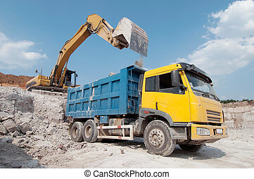 loading a large lorry building material