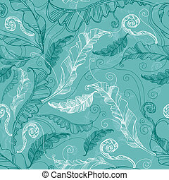 Pattern with freehand coffee leafs - Vector seamless floral...