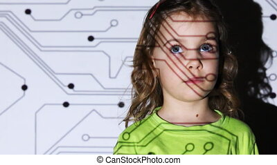 little girl stand in front of projector screen - cute little...