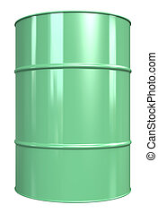 Oil Drum. - Classic Oil Drum. Green, isolated on white.