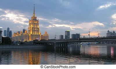 Behind Novoarbatsky bridge there is hotel Ukraine - MOSCOW -...