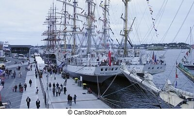Russian and Polish barques stand together - STAVANGER,...