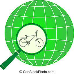 icon with bycicle in magnifier on p - symbol green tourism...