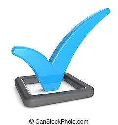 Check mark - Check Mark in Check Box Matte black and blue,...