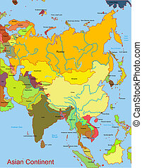 Map of asian continent - Detailed vector map of asian...