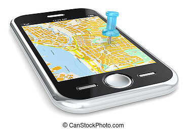 Navigation via Smart phone. - Black Smartphone with a GPS...