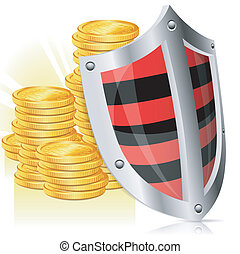 Shield Safety - Business concept - Shield protects Money,...