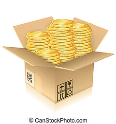 Cardboard Box with Gold Coins - Open Cardboard Box with Gold...