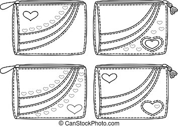 Set purses with valentine hearts, outline