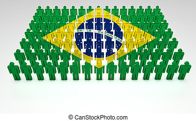 Brazilian Parade - Parade of 3d people forming a top view of...