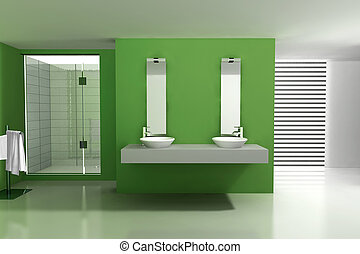 Bathroom with modern and contemporary design and furniture,...