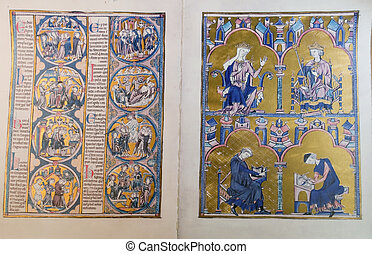 Codex medieval located in the monastery of Spanish city of...