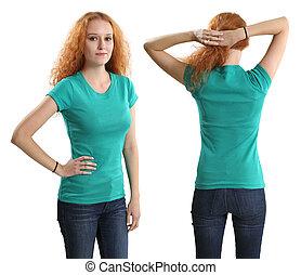 Pretty female wearing blank green shirt - Young beautiful...
