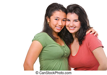 Best friend - Two female teenagers being playful, isolated...