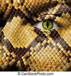 Un, hombre, morpred, serpiente, como, criatura