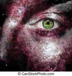 nebulosa, pintado, cara