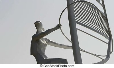 Windsurfing sculpture statue.