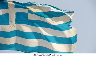 Greece flag is fluttering in wind.