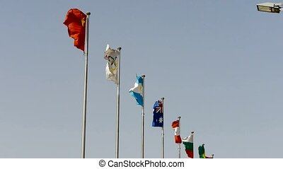Many national flags fluttering in the wind.