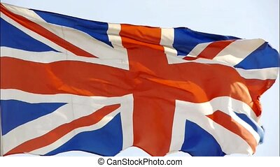 Britain flag is fluttering in wind.