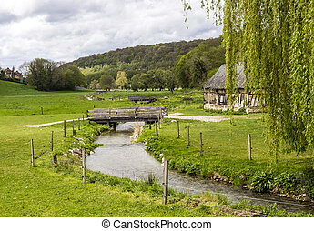 Scenic view on of the french spring countryside with rever...