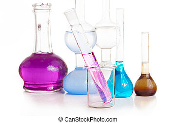 Test tubes and flasks with colorful liquids on white