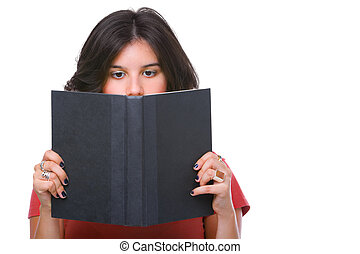 Female teenager reading book, showing half her face only.