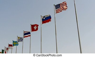 Many national flags fluttering in windAmerican-flag
