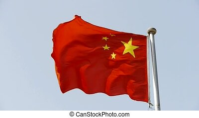 Chinese flag flutters in wind.