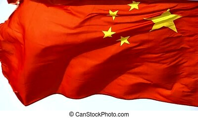 Chinese flag flutters in wind