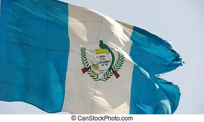 Guatemala flag is fluttering in wind.