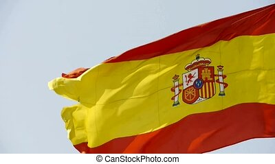 Spain flag is fluttering in wind