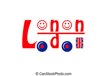 London bus symbol made of letters, smileys and flag
