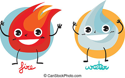 Fire and water - Illustration of two characters: fire and...