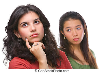 Young female ignores her friend - A young female ignores her...