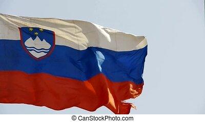 Slovenian flag is fluttering in wind.