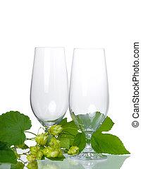 Empty beer glass with hop  - Empty beer glass with hop