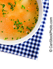 Vegetable soup, Isolated on white background