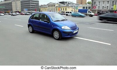 MOSCOW - MAY 6: Blue car was left right on road due to lack of space for parking, on May 6, 2011 in Moscow, Russia. Number of parking spaces in Moscow increased by 1.5 times or 606000 spaces, in 2011