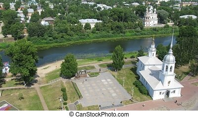 Alexander Nevskiy Church in Vologda near calm river, time...